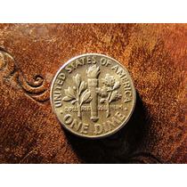 One Dime Un Centavo Plata 0900 Estados Unidos 1964 Impecable
