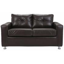 Sofa 2 Cuerpos Cuero Pu Cafe Pata Metal Directo De Fábrica