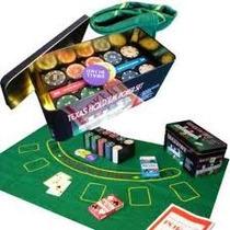 Set De Poker 200 Fichas. Caja Metálica, Paño, Naipes Y Más