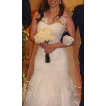 Vestido Novia Precioso Strapless-encaje-talla 36-38