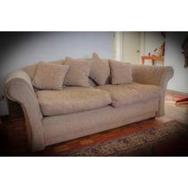 Sofa Sillon 3 Cuerpos Tela Crema Oscuro