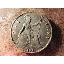 Moneda Inglaterra Cobre 1 Penny Penique 1919 Buen Estado 3cm