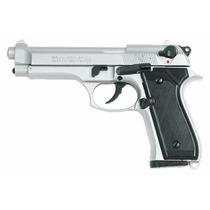 Pistola De Fogueo Bruni 92 Niquel - Full Metal - Ruido Real