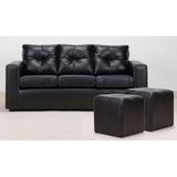 Living Sofá 3 Cuerpos Con 2 Pouf Pu Negro Directo De Fábrica