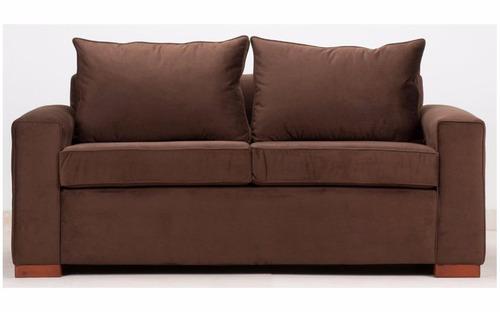 Sof 3 cuerpos felpa chocolate patas madera directo - Cambiar relleno sofa ...