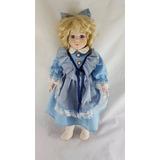 Muñeca De Porcelana Precioso Vestido Color Celeste