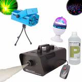 Maquina Humo + Laser Lluvia + Liquido + Bola / Fernapet