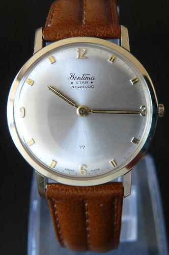 0d6bf51b2952 Unico Reloj Oro Solido Bentima Suizo A Cuerda 17 Rubis