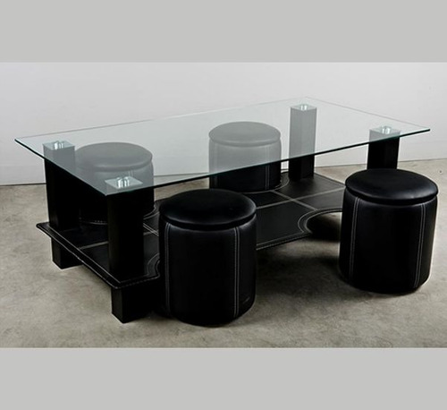 Mesa de centro vidrio con puff - Mesa de centro con puff ...