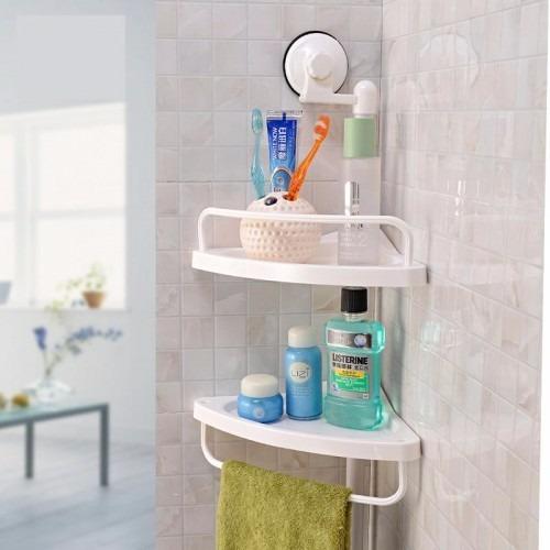 Estante esquinero 2 repisas regulable blanco ducha o - Estante para ducha ...