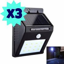 Pack 3 Foco Solar 20 Led Sensor De Movimiento