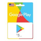 Tarjeta Google Play Gift Card 5 Usa Digital - Prepagochile