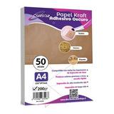 Papel Kraft Oscuro Adhesivo Imprimible A4 200gr 50hjs Cursor