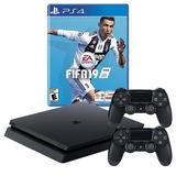Playstation 4 Ps4 Slim 1tb+ Fifa19 2 Controles / Huamansales