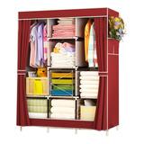 Closet Ropero De Tela Con Colgador 8 Estantes 170x130x45 Loi