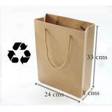 12 Bolsas Papel Kraft Reciclado Regalos 24x33x8cms / Pix