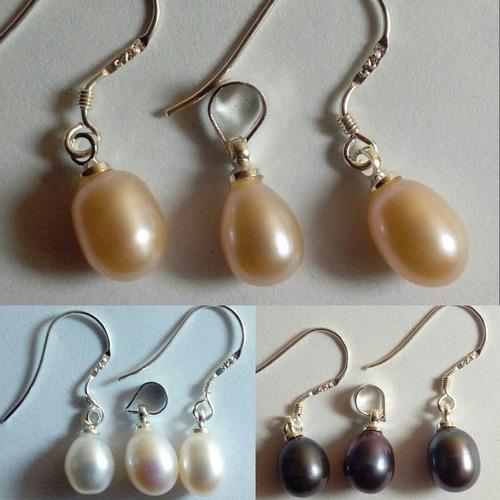 3f0305624da0 Tres Set Aros + Colgante Perla Natural 7-8 Mm De Plata 925