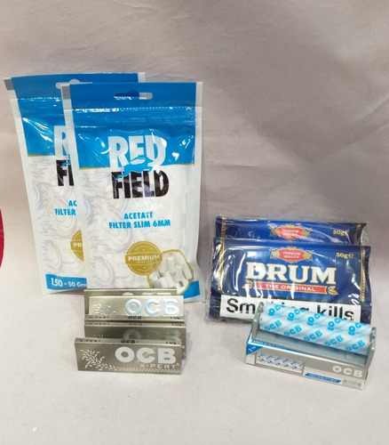 2 Tabaco Drum+2filtros Redfiel+5papelocb+enroladora Metalica