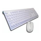 Set Teclado Y Mouse Blanco Wireless 2.4g Inalambrico