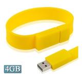 Flash Usb 4gb Silicon Bracelets 2.0 Disk Amarillo