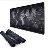 Mouse Pad Gamer Negro Mapa De Mundo 90cm X 40cm