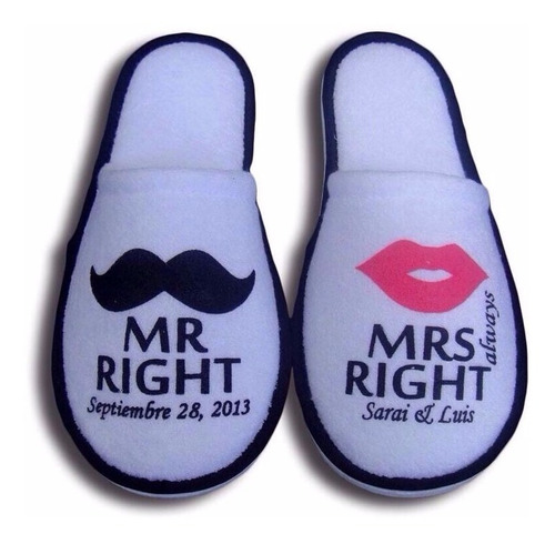 Pantuflas Personalizadas Recuerdo Matrimonios Bodas Eventos