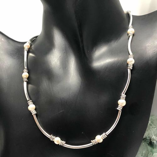 53de6e3b0b3f Collar Perlas Cultivadas Genuinas Y Plata 925 Collar