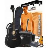 Pack De Guitarra Electroacústica Freeman Folk Negra