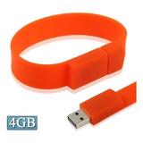 Flash Usb 4gb Silicon Bracelets 2.0 Disk Rojo
