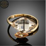 Anillo Cristal Swarovski Bañado En Oro 18k Ajustable Golden