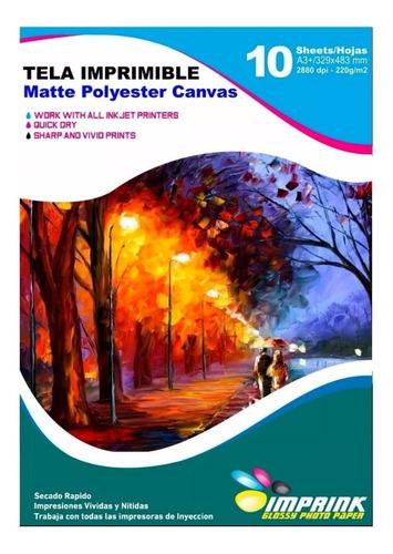 Tela Matte Poliester Canvas A3+/10hojas.envio Gratis X 2 Un