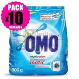 Pack 10 Detergentes Polvo Omo Matic Bolsa 800gr