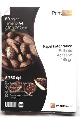 Papel Adhesivo Fotografico Brillante 135 Gr. 50 Hojas
