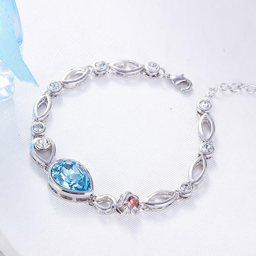 cf37fa1f370 Pulsera Hecha Con Cristales Swarovski Delicada-joyas Mujer