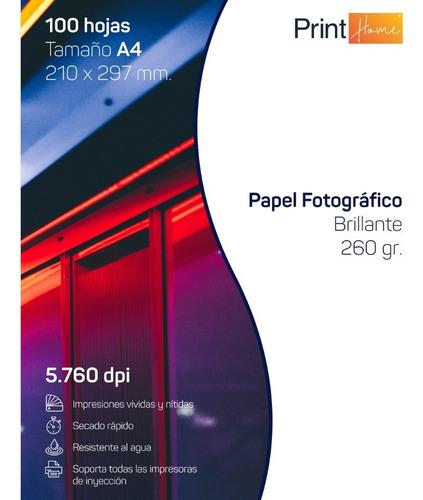 Papel Fotográfico Glossy 260grs A4 X 100 Hojas Alto Brillo
