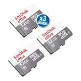 3 Tarjetas 32gb 80mb/s Sandisk Micro Sd Clase 10 Electroplay
