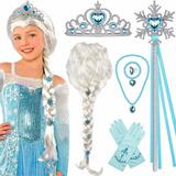 Tacobear Elsa Peluca Frozen Elsa Trenza Con Tiara Princesa E
