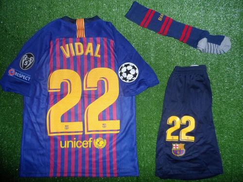 f63fa42b8b5f5 Conjunto Barcelona Camiseta+short+calcetas Vidal Niño 18-19