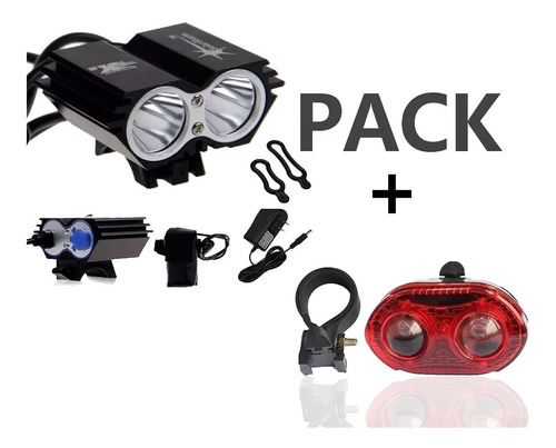 Pack Linterna Bicicleta 2400 Lum Frontal Walee + Luz Trasera