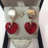 Joyas Aros Swarovski Elements Corazón Rojo Ganchos Plata