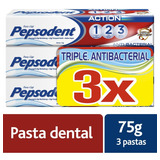 12 Unidades Crema Dental Pepsodent, Action Antibacterial 75g