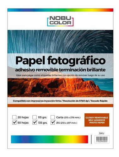 Papel Foto Glossy Adhesivo Removible A4 135 Gr. 50 Hojas