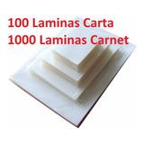 100 Micas Carta Y 1000 Micas Carnet /láminas Termolaminado