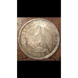 Antigua Moneda Plata Chile 1 Un Peso Aguila 1886 Escasa