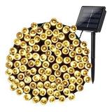 Luces Guirnalda Solar 200 Led Calidas Calido 20 Metros