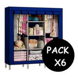 Pack X6 Closet Ropero Armable Organizador Ropa 175x130x45cm