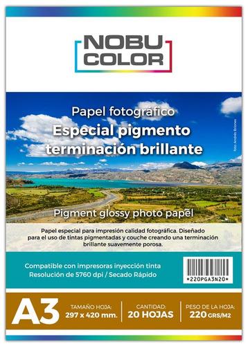 Papel Foto Pigmentado Brillante 220 Gr. A3 20 Hojas