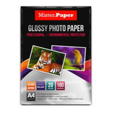 Papel Fotográfico Glossy 20 Hojas 180grs. Mister Paper