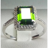 Anillo De Plata Fina 925 Solida Circon Verde Peridot6.93g