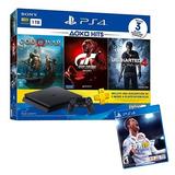 Consola Ps4 1tb Hits 3 Juegos + Fifa 18 /12 Ctas/ Iprotech